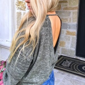 NEW!! olive green open back top